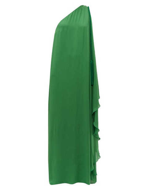 Dundas - One Shoulder Silk Georgette Maxi Dress - Womens - Green