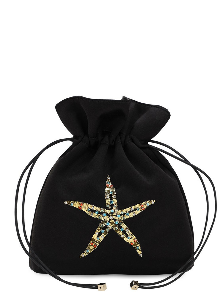 LES PETITS JOUEURS Trilly Satin & Crystal Sea Star Clutch in black