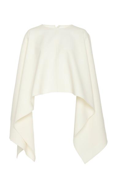 Oscar de la Renta Wool-Blend Crepe Blouse in white
