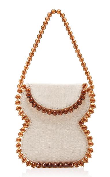 by FAR Frida Beaded Linen Shoulder Bag in neutral