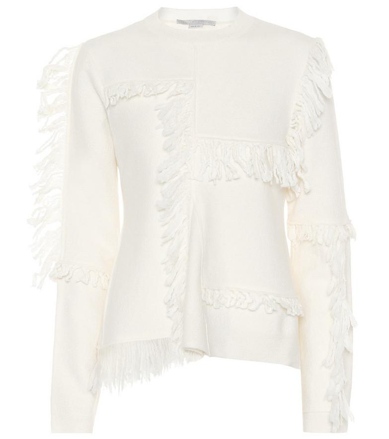 Stella McCartney Fringed wool sweater in white