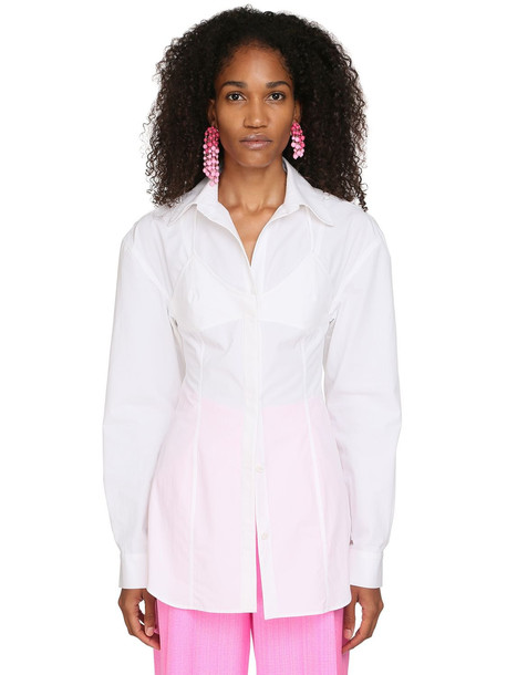 JACQUEMUS La Chemise Valensole Cotton Poplin Shirt in white