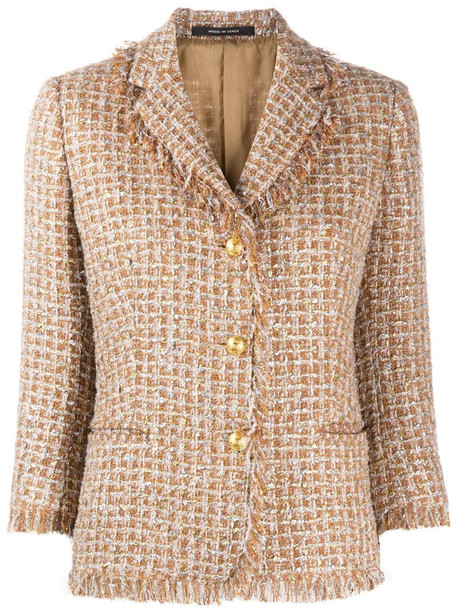 Tagliatore Adele checked tweed jacket in neutrals