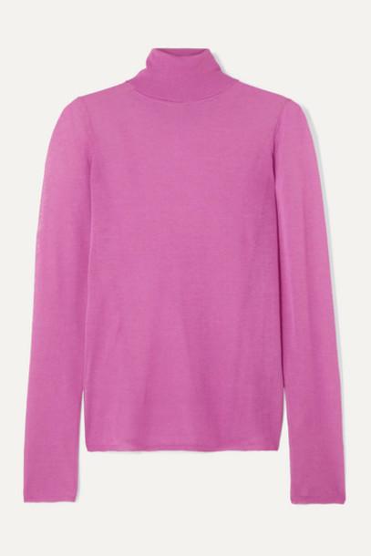 Isabel Marant - Azale Cotton-blend Turtleneck Sweater - Fuchsia
