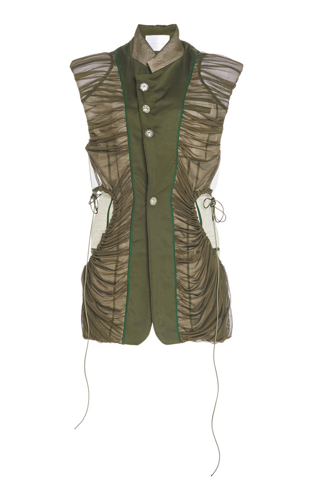 Richard Malone Ruched Sleeveless Linen-Canvas Jacket Size: XS in green