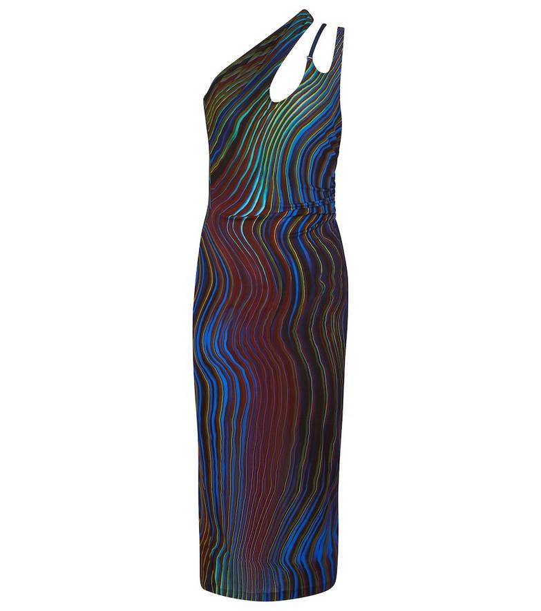 Mugler Printed one-shoulder midi dress