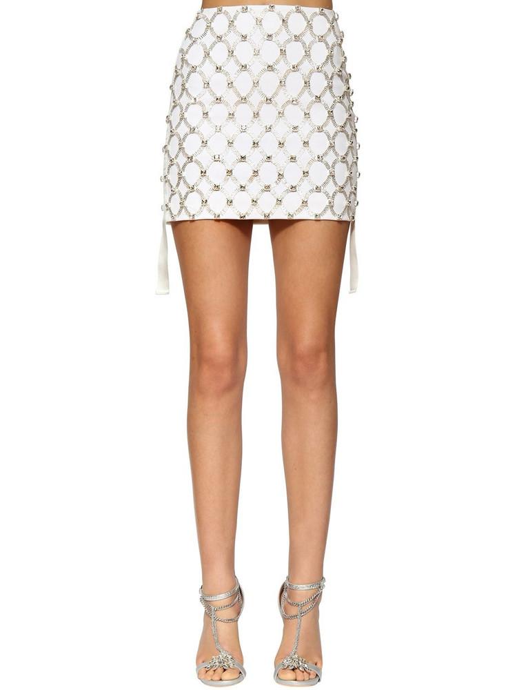 AZZARO Embellished Wool Twill Mini Skirt in white