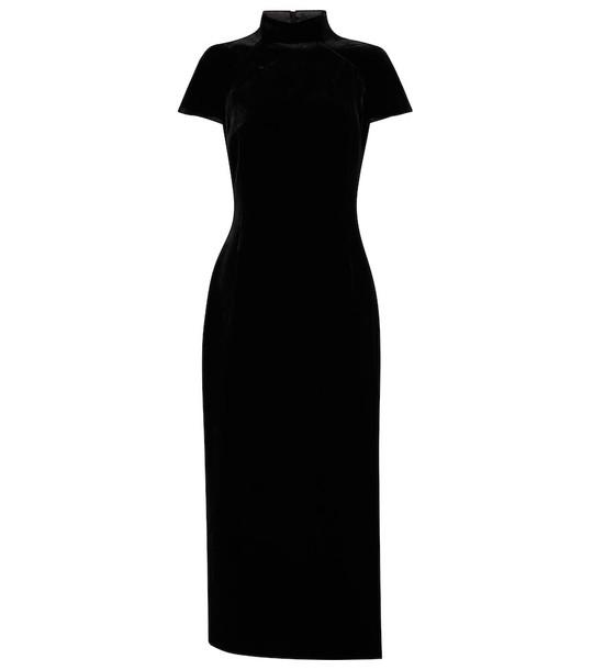 RASARIO Side-vent velvet midi dress in black