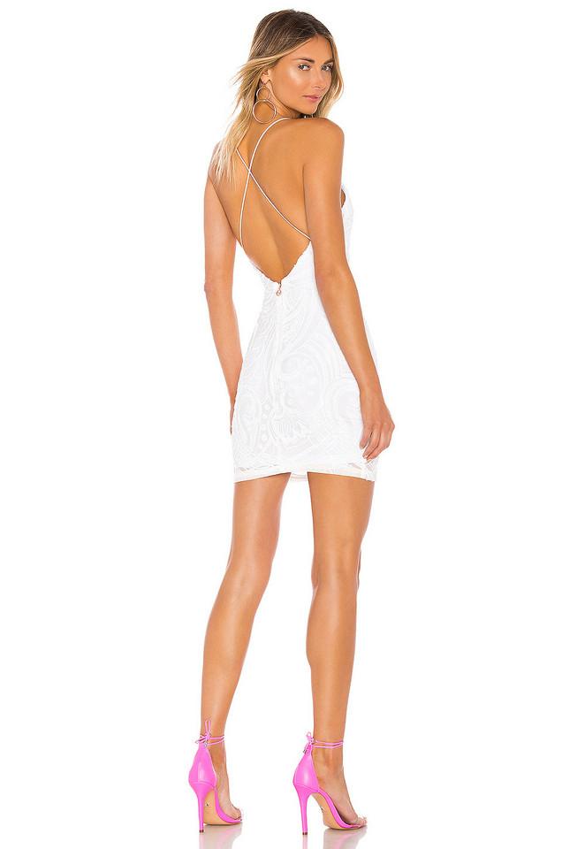 Nookie Sensational Sequin Mini Dress in white