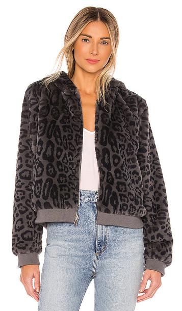 Bella Dahl Reversible Faux Fur Bomber Jacket in Grey