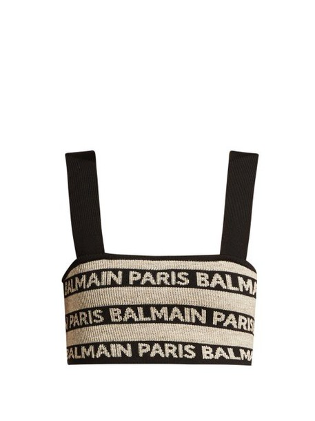 Balmain - Logo Intarsia Stretch Knit Crop Top - Womens - Beige Multi