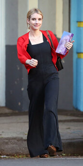 jumpsuit,emma roberts,wide-leg pants,pants,overalls,fall outfits,streetstyle