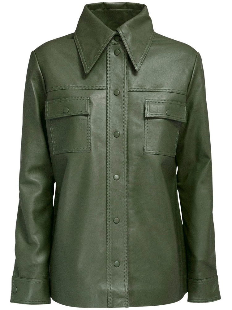 REMAIN Rosalee Leather Shirt in green