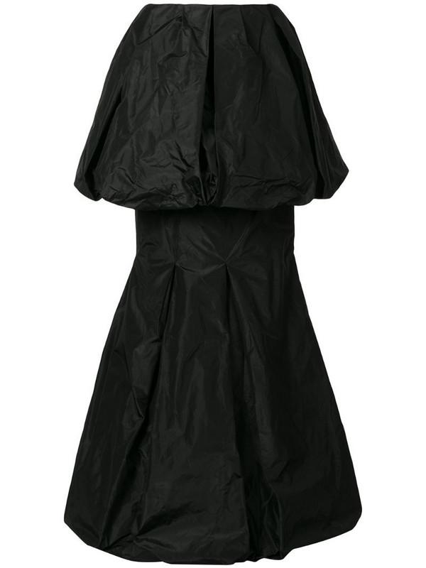 Vera Wang draped tiered hem silk skirt in black
