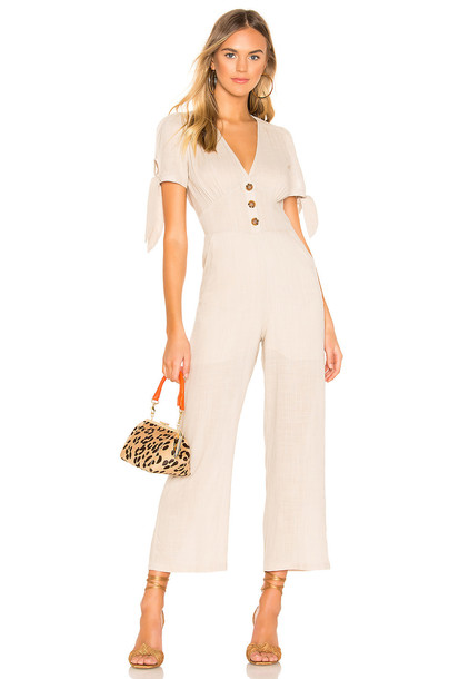 superdown Lana Tie Jumpsuit in beige