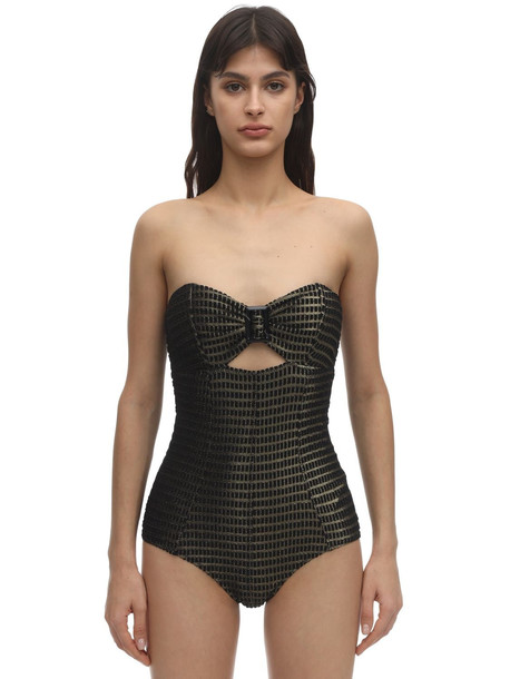 LISA MARIE FERNANDEZ Strapless Buckle Jacquard Swimsuit in black / gold