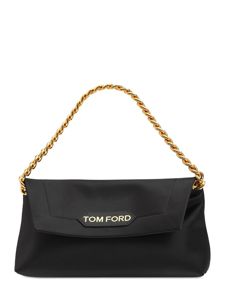 TOM FORD Small Satin Label Leather Bag W/chain in black