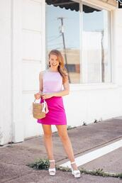 a lonestar state of southern,blogger,bag,dress,pink dress,spring dress,spring outfits,high heel sandals,straw bag
