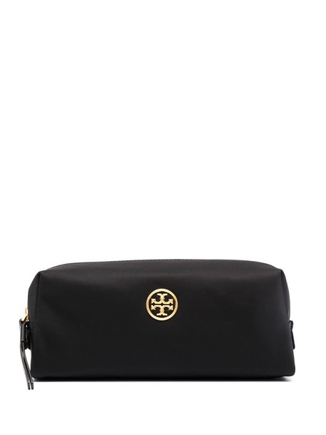 Tory Burch logo plaque make-up bag in black