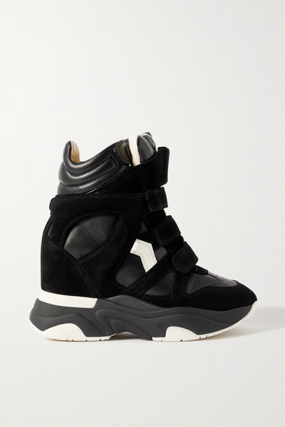 Isabel Marant - Baskee Leather And Suede High-top Wedge Sneakers - Black