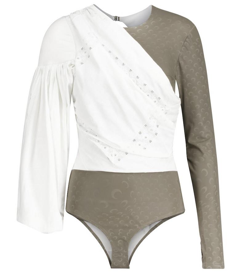 Marine Serre Jersey and cotton-poplin bodysuit in grey