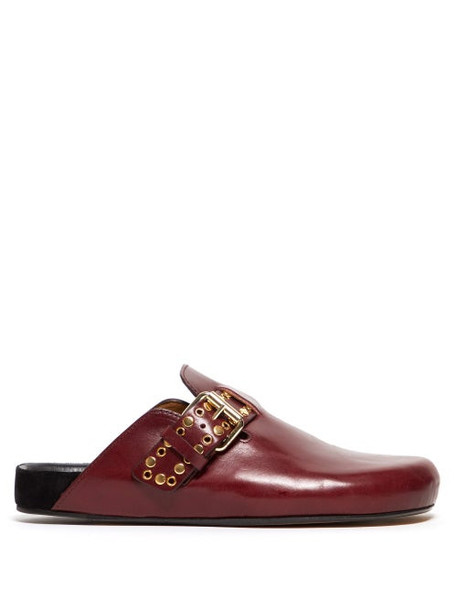Isabel Marant - Mirvin Studded Backless Leather Clogs - Womens - Burgundy