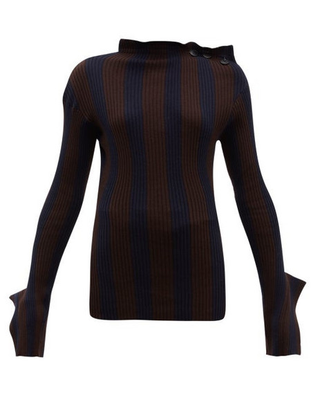 Palmer/harding Palmer//harding - Shift Exaggerated Cuff Cotton Blend Sweater - Womens - Navy