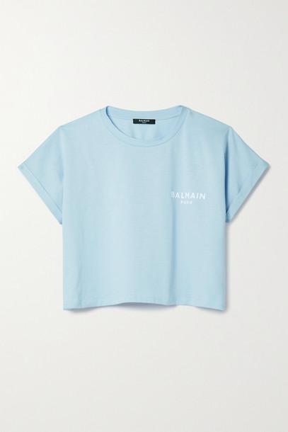 BALMAIN - Cropped Flocked Cotton-jersey T-shirt - Blue