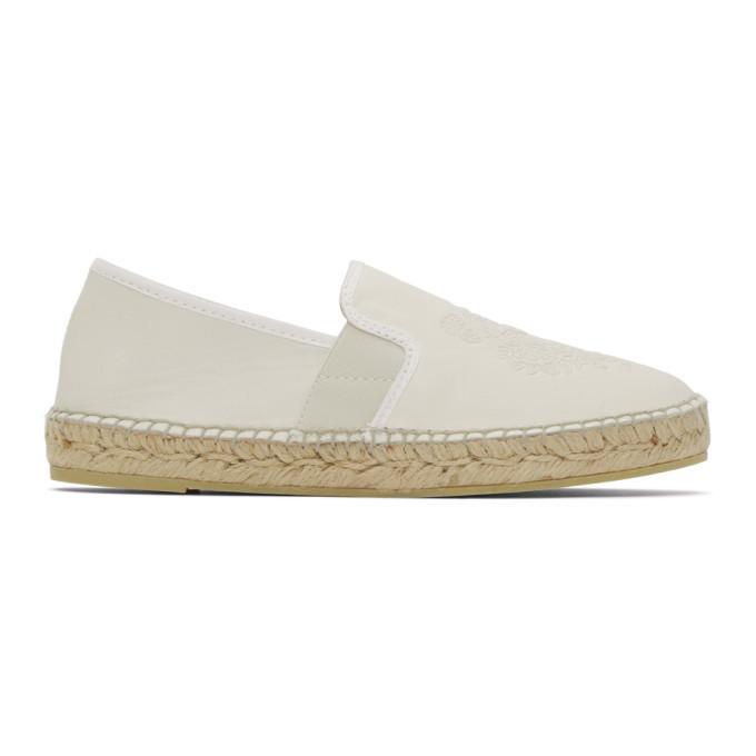 Kenzo Off-White Tiger Espadrille Sneakers in ecru