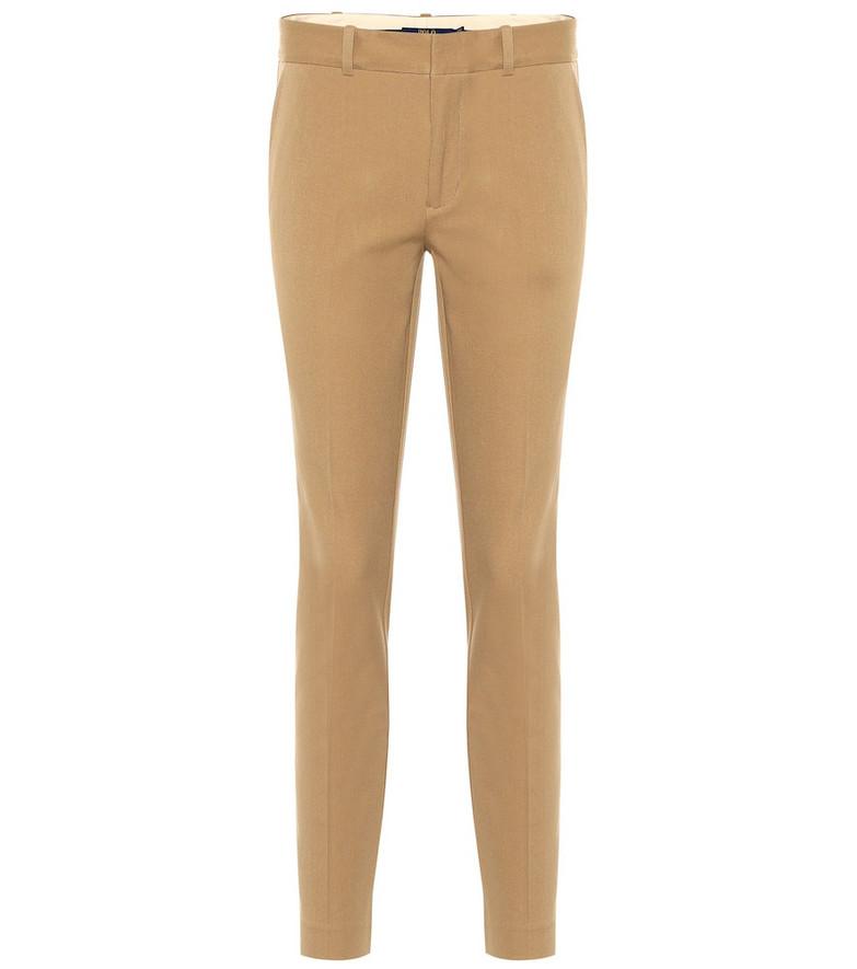 Polo Ralph Lauren Mid-rise skinny cotton blend pants in beige