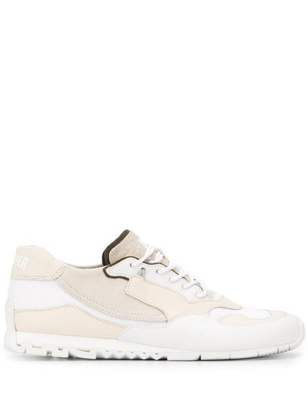 Camper stitch panel sneakers in white