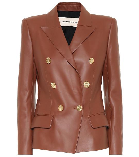 Alexandre Vauthier Leather blazer in brown