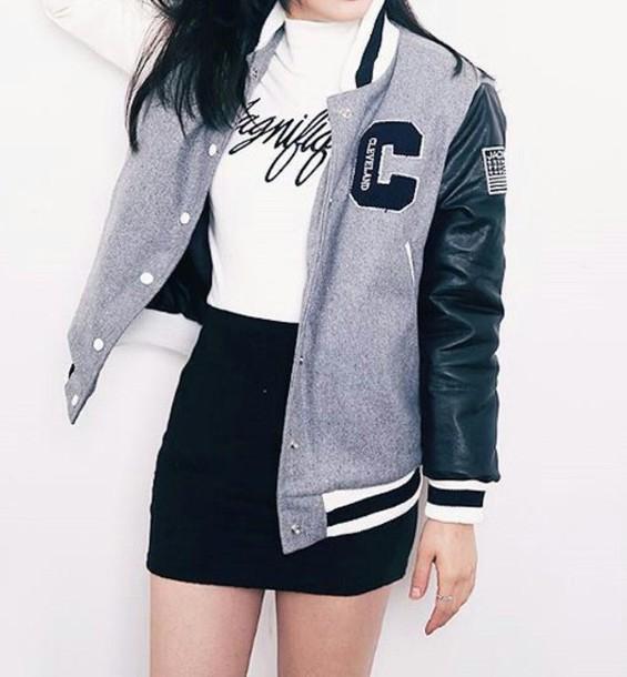 jacket baseball jacket bomber jacket grey