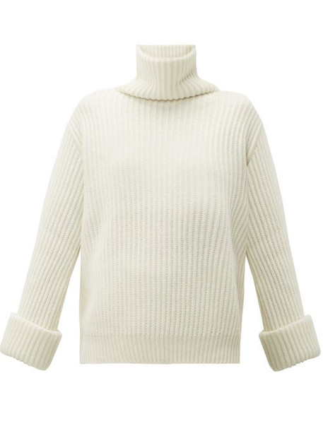 Brunello Cucinelli - Faceted Buttoned Cuff Cashmere Roll Neck Sweater - Womens - White