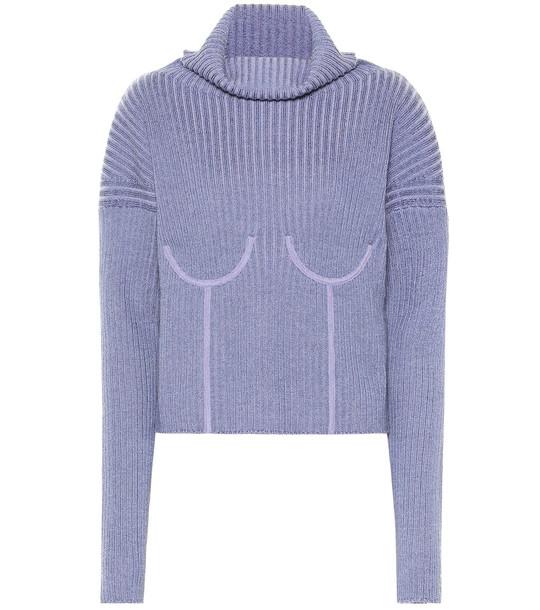 Mugler Wool-blend turtleneck sweater in purple