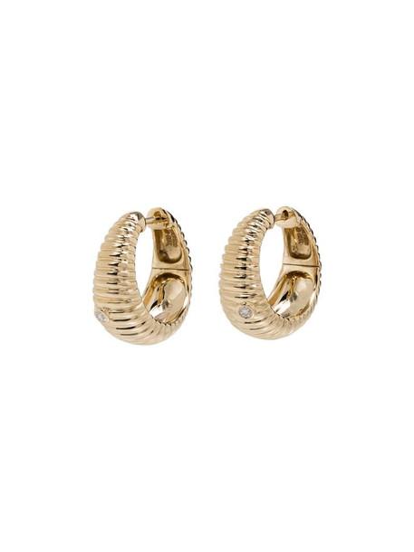 Yvonne Léon 9kt yellow gold ridged diamond hoop earrings