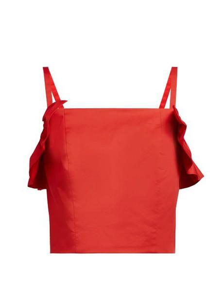 Staud - Nemi Cotton Blend Ruffled Top - Womens - Red