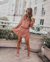 dress,mini dress,long sleeve dress,pink dress,white sandals