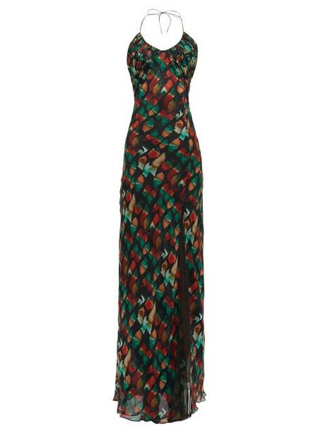 Rat & Boa - Nirvana Abstract Print Silk Chiffon Maxi Dress - Womens - Black Multi