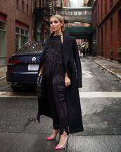 top,black top,feathers,black pants,black coat,black bag,slingbacks