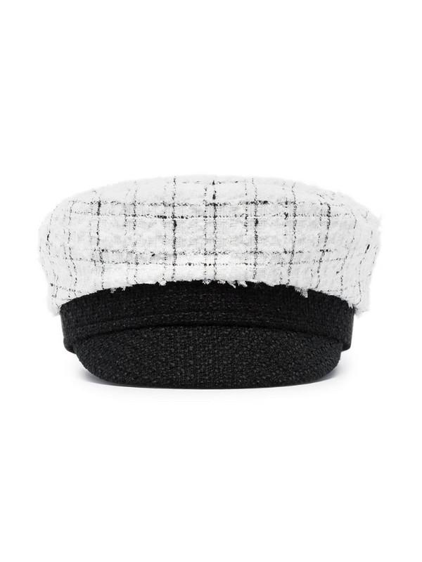 Ruslan Baginskiy check tweed baker boy hat in white