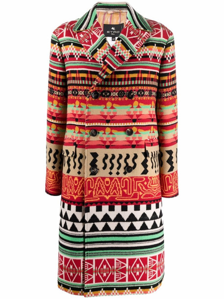 ETRO navajo-print double-breasted coat - Red