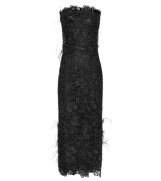 Costarellos Charabella guipure lace gown in black