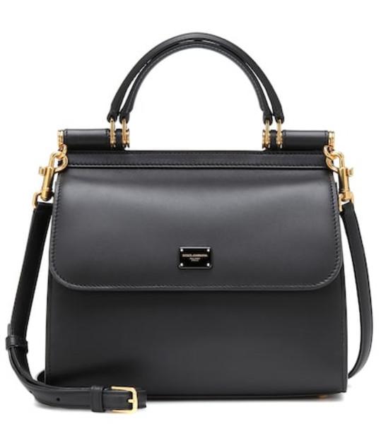 Dolce & Gabbana Sicily Small 58 leather shoulder bag in black