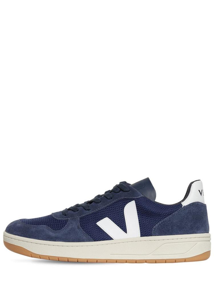 VEJA 20mm V-10 Suede & Mesh Sneakers in blue