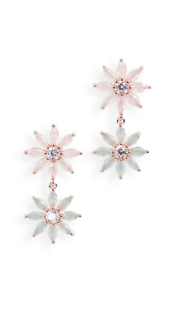Theia Jewelry Maya Two Tier Petal Drop Earrings in gold / rose