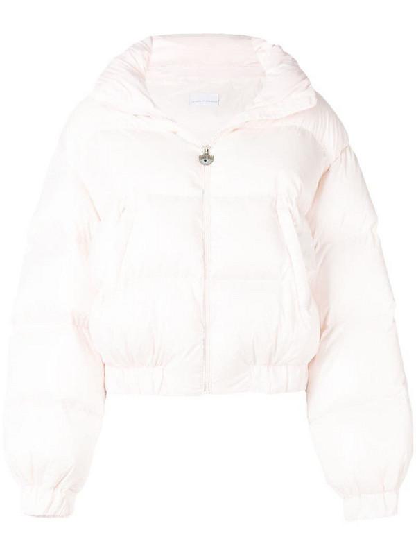Chiara Ferragni embroidered logo puffer jacket in pink
