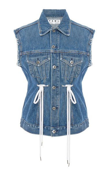Proenza Schouler White Label Tie-Detailed Denim Vest Size: XS in blue