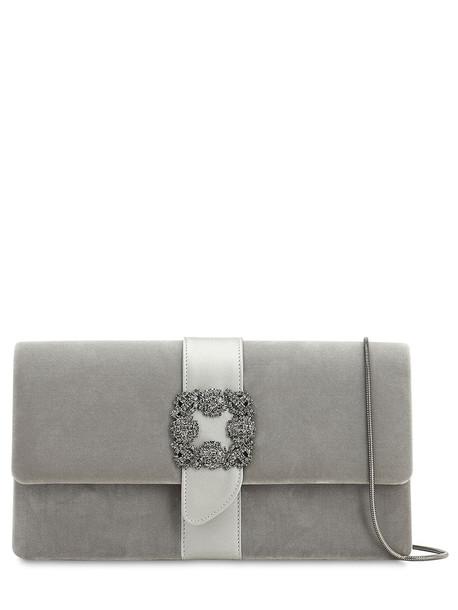 MANOLO BLAHNIK Capri Embellished Velvet & Satin Clutch in grey