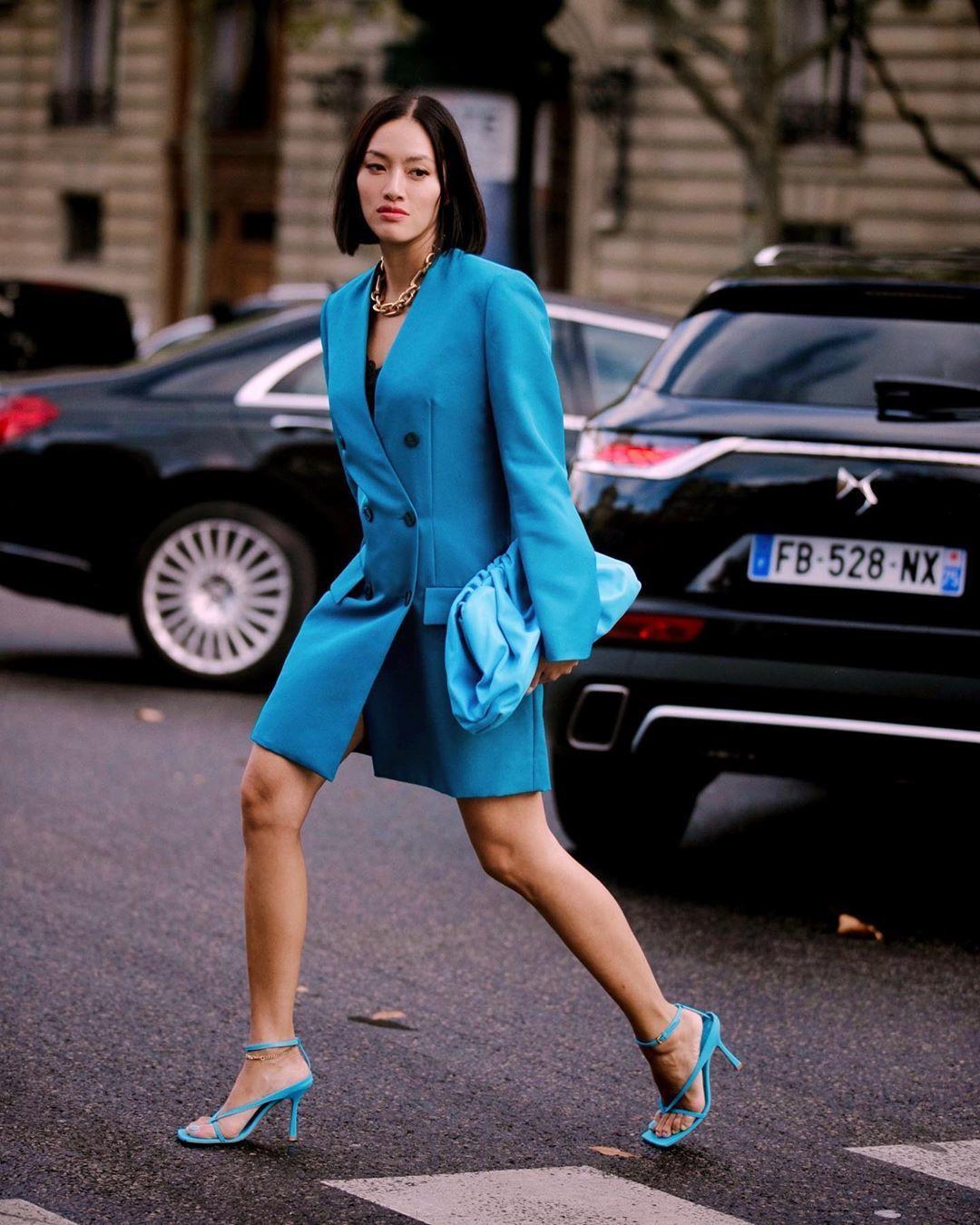dress blazer dress double breasted balenciaga sandal heels bag
